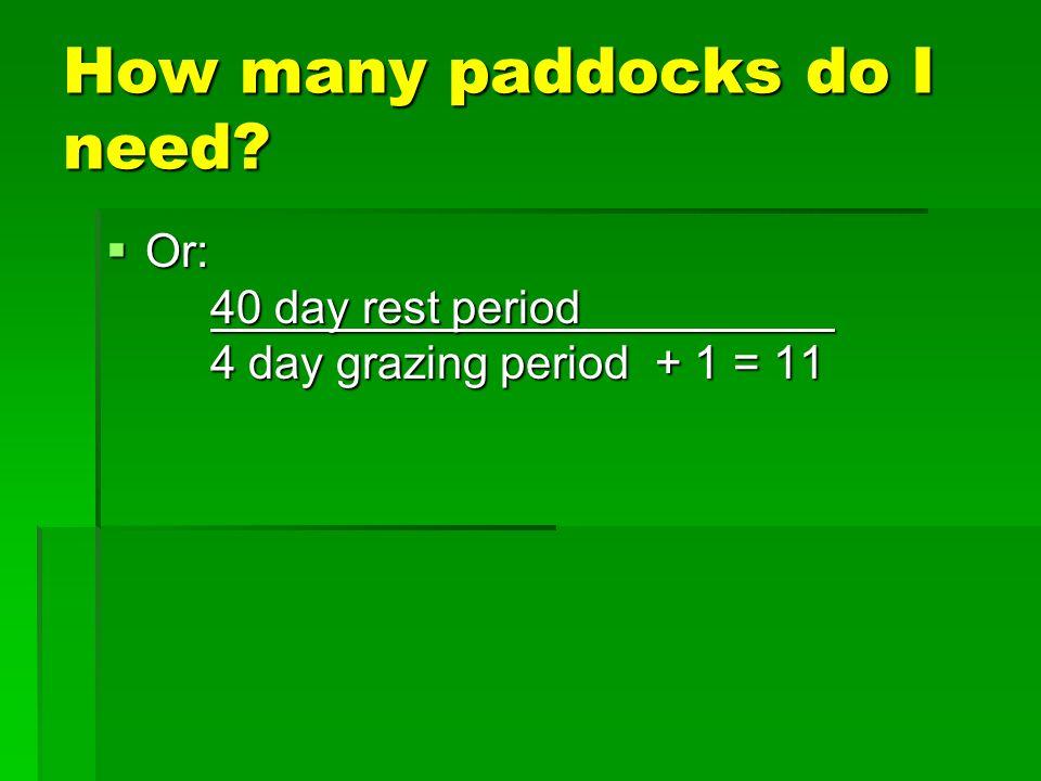 Optimum Paddock #s based on Livestock Type (Rule of Thumb) Livestock type Grazing Period (Days) Paddock # Dairy/grass finishing 0.5 – 1 20 - 80 Dairy heifer / beef stockers 1 - 2 16 - 40 Cow/calf, Sheep, Goats, Horses 2 - 5 8 - 16