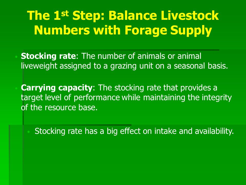 Carrying capacity of pasture is determined by four factors Carrying Capacity = Forage Production X Seasonal Utilization Rate Daily Intake X Length of the Grazing Season