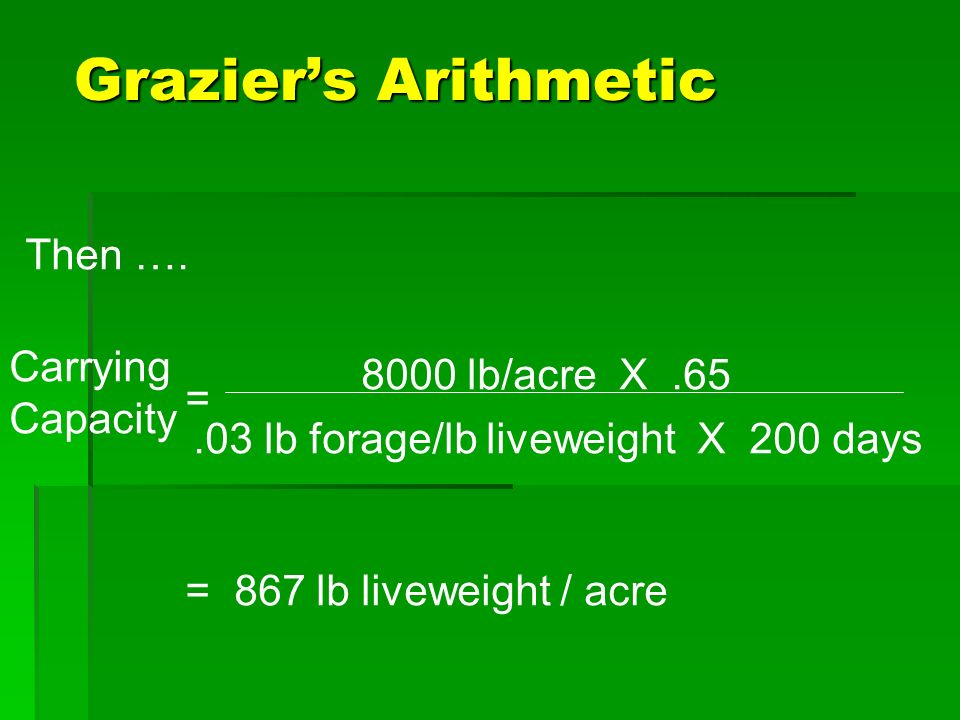 Graziers Arithmetic 867 lbs.per acre/500 lb = 1.73 steers/ac 867 lbs.