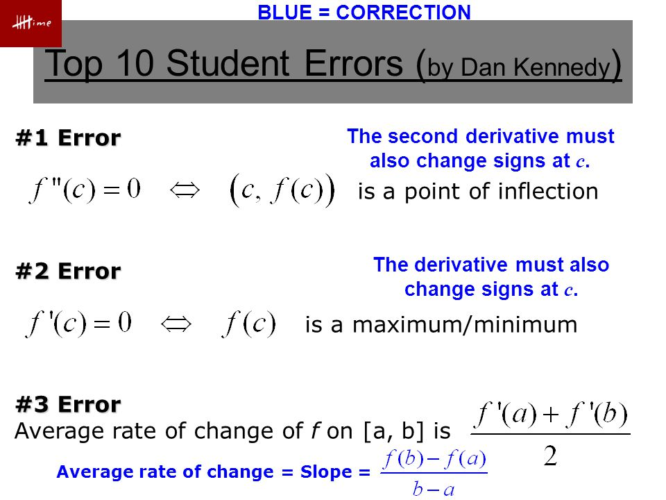 Top 10 Student Errors ( by Dan Kennedy ) #4 Error Volume by washers is #5 Error Separable differential equations can be solved without separating the variables.