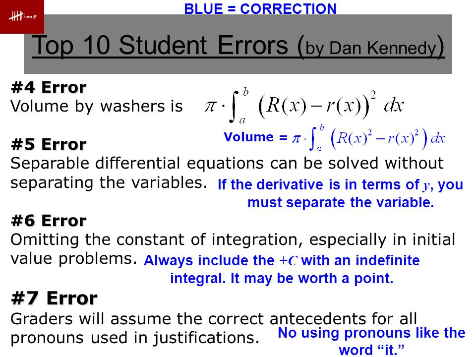Top 10 Student Errors ( by Dan Kennedy ) #8 Error If the correct answer came from your calculator, the grader will assume your setup was correct.