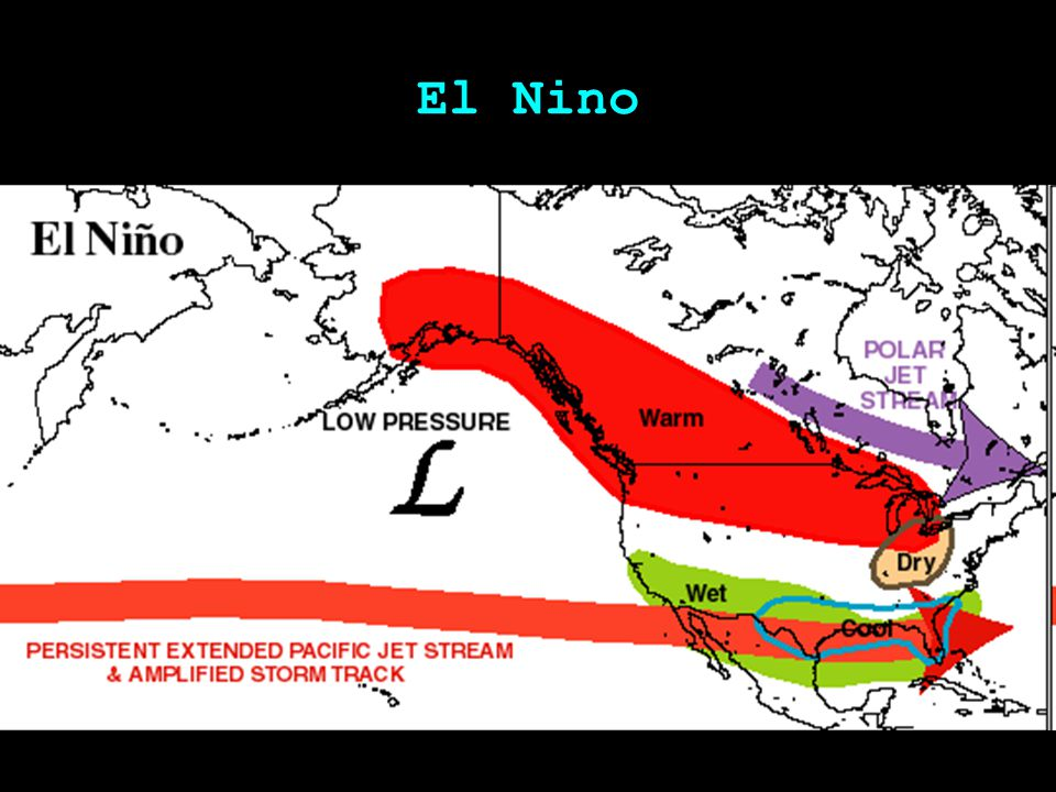 El Nino: US Winter Temperatures Higher in mid continent Lower in south (Anomalies)