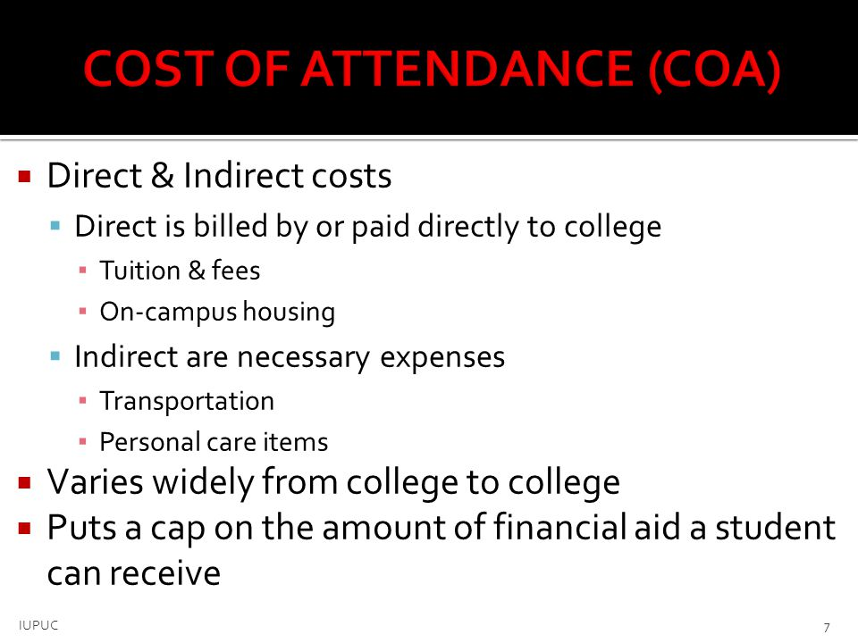  Amount family can reasonably be expected to contribute towards COA  Stays same regardless of college  Calculated using data from a federal application form and a federal formula  This is NOT what a student owes the University.