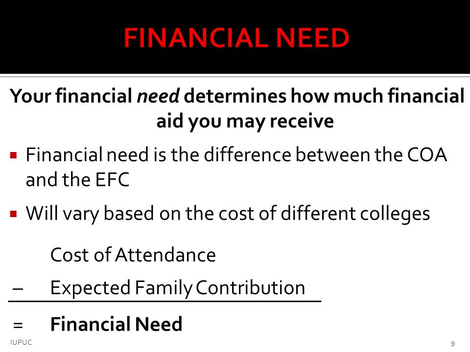  Scholarships – Do not need repaid  Criteria: merit, skill or unique characteristic  Grants – Do not need repaid  Usually awarded on the basis of financial need  Loans – Borrowed money  All FAFSA applicants offered Stafford loans  Employment  Students earn money to help pay educational costs ▪ Paycheck ▪ Non-monetary compensation, such as room & board 10 IUPUC