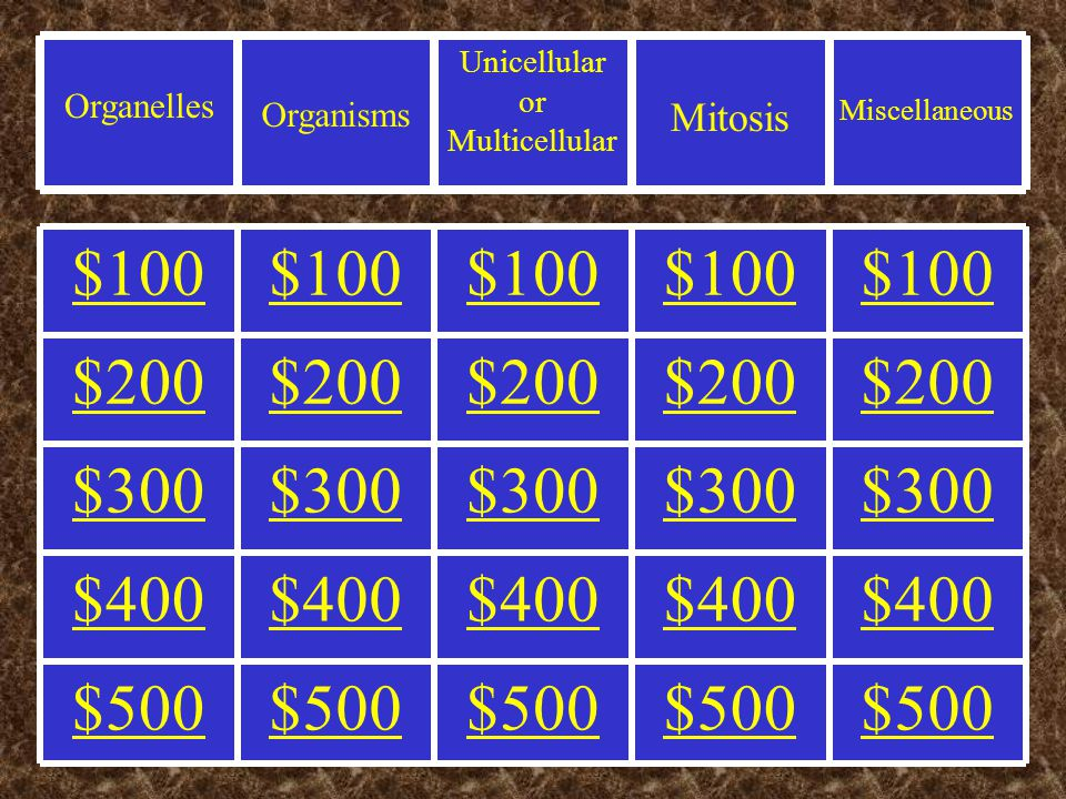 Miscellaneous Mitosis Unicellular or Multicellular Organisms Organelles $500 $400 $300 $200 $100