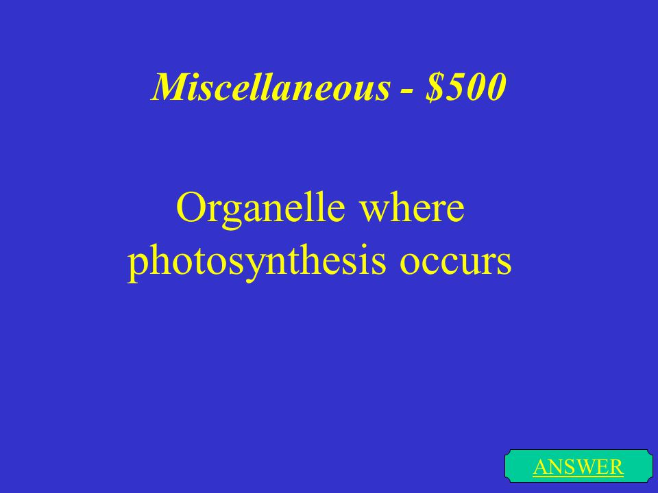 Miscellaneous - $500 ANSWER Organelle where photosynthesis occurs