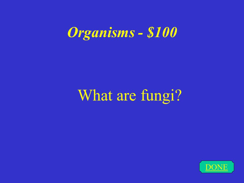Organisms - $100 DONE What are fungi?