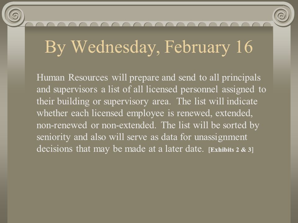By Friday, February 18 1) Principals and supervisors will review the above lists, make necessary corrections, and return the list to their HR administrator.