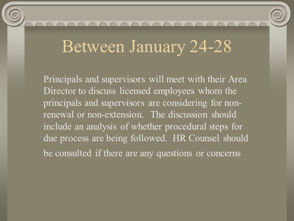 Monday January 31 Principals and supervisors will submit to their Area Director a list of licensed employees who are being recommended for non-renewal or non-extension.