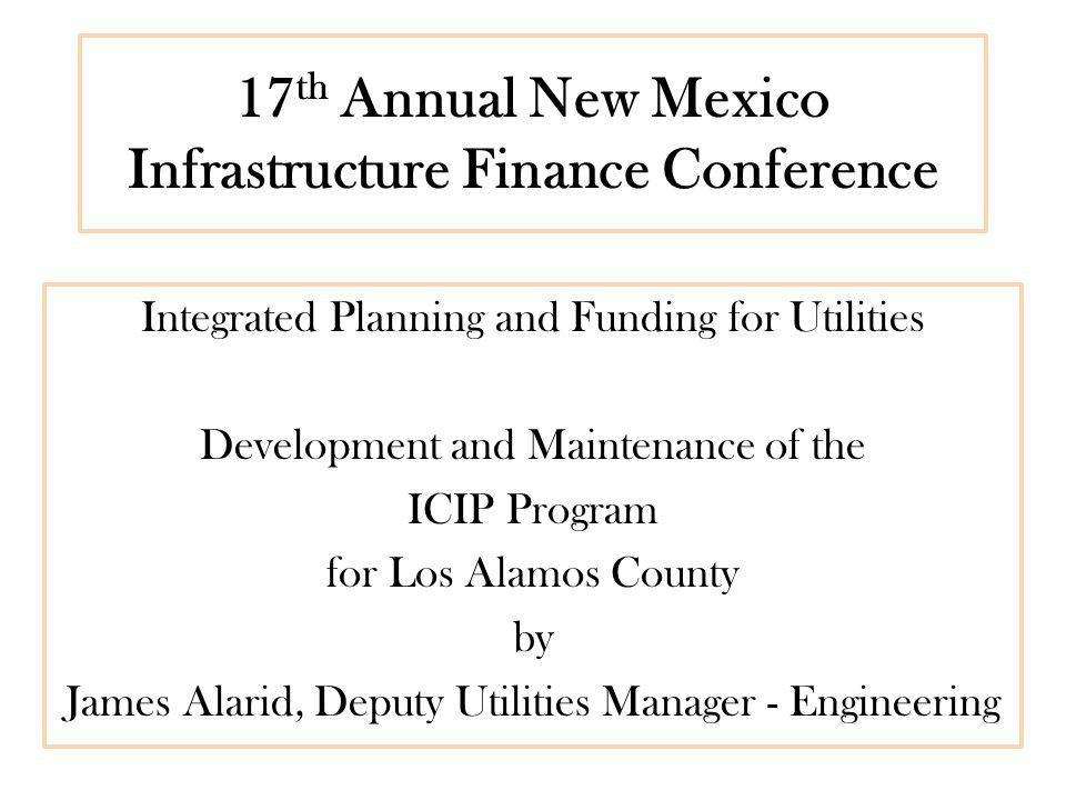 Los Alamos County Infrastructure Capital Improvement Plan (ICIP) List of major projects developed throughout the County from various departments and divisions.