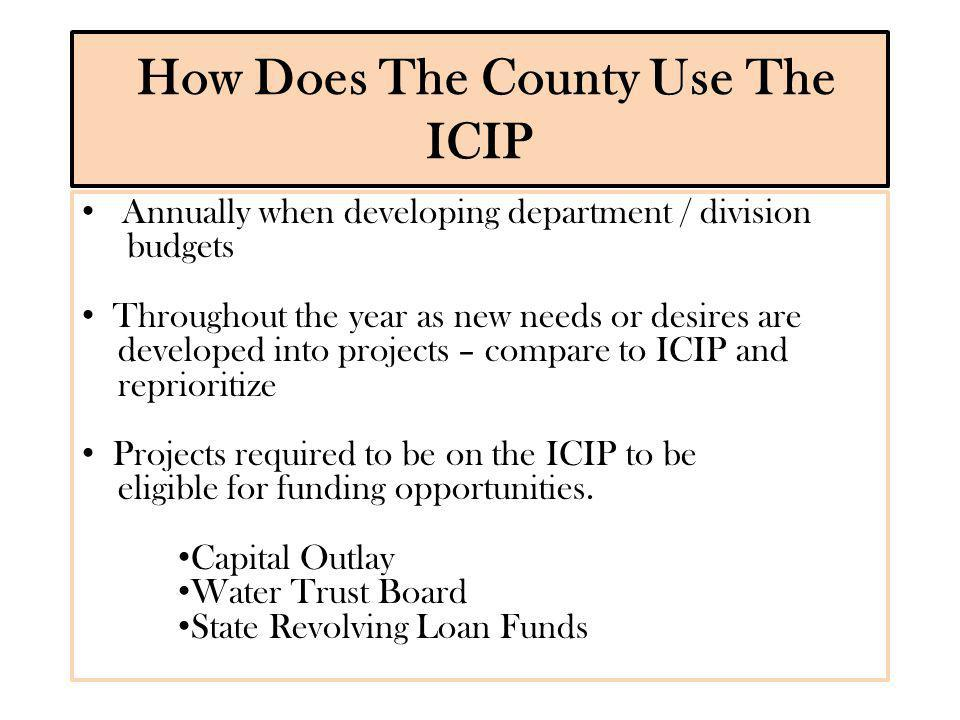 Positive aspects of the ICIP Ensures that the County meet on a regular basis to compare projects being developed within individual departments to coordinate and prioritize projects throughout the County.