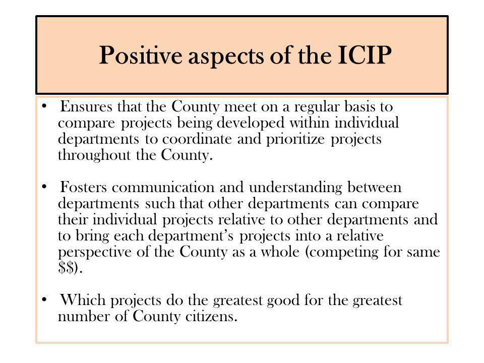 ICIP Considerations Scope projects that are realistic.