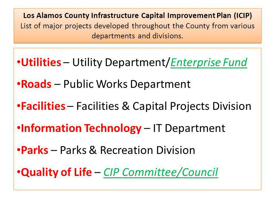 How is Los Alamos County's ICIP Developed.