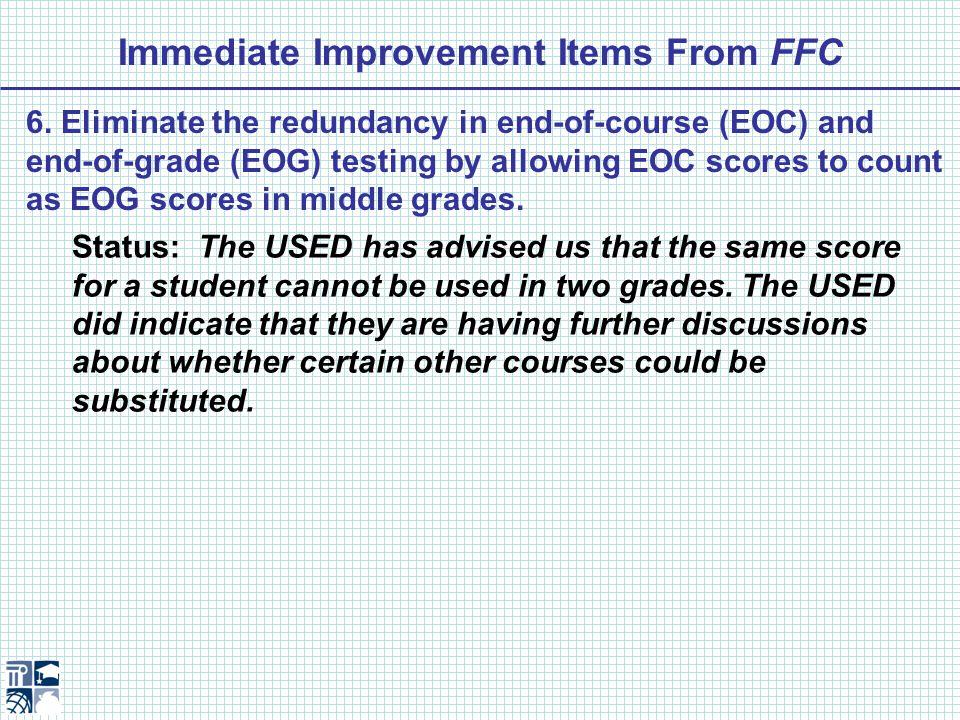 Immediate Improvement Items From FFC 9.
