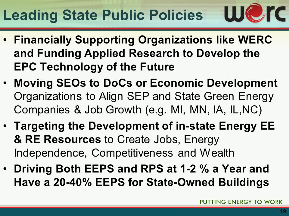 Roadmap for Wisconsin Wisconsin will grow in EPC by: –Expanding EPC Basic and Applied Research and Obtaining Greater Federal and State Funding –Developing Public Policy Which Is More Supportive of the EPC Market –Improving Alignment and Coordination between US and WI Government EPC Programs & WERC –Expanding Availability of Venture Funding for EPC –Developing an EPC- Focused Incubator –Developing and Attracting Companies to Fill our Product Line Gaps 20