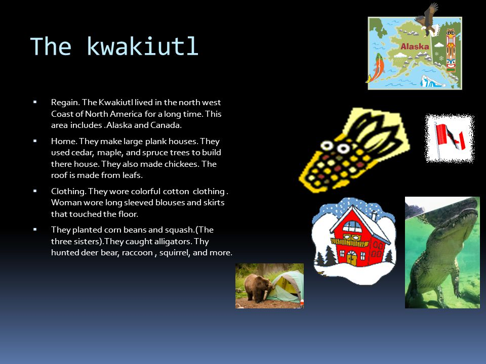The kwakiutl  Regain.The Kwakiutl lived in the north west Coast of North America for a long time.