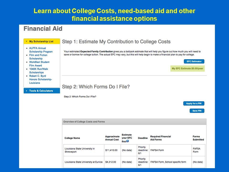 Search for Colleges and compare costs