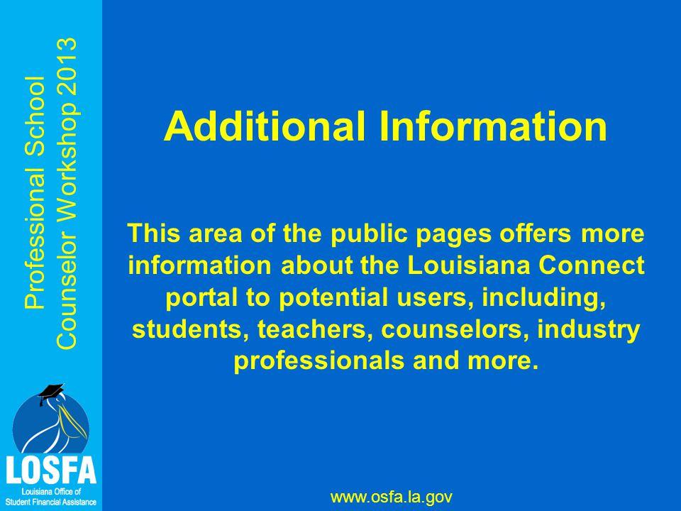 Professional School Counselor Workshop 2013 www.osfa.la.gov
