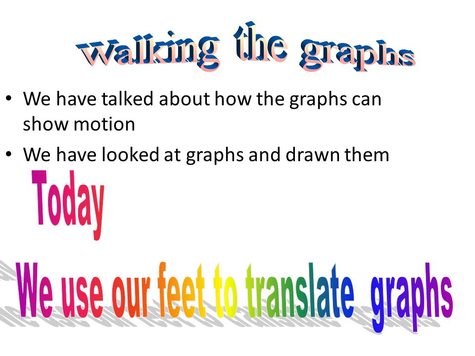 The graphs Each student will get a sheet with 4 graphs on it Take a minute to write on the graph motion information on each section