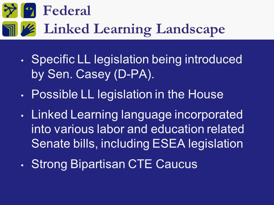 Federal Carl Perkins Legislation $1.25 billion annually to fund CTE 2012 reauthorization goals Increased focus on integrating academics through project-based learning Better technical skill assessments Greater role for district systemic reform Better data systems linking secondary and post-secondary outcomes Transferability of dual enrollment credits