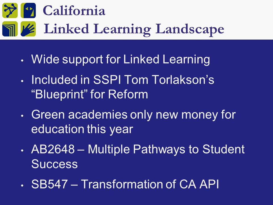 CA Blueprint for Great Schools Challenge: By 2025, CA will be short 1,000,000 college educated workers unless we change our current system Increase alignment of K-12 & post-secondary Remove barriers to dual enrollment Create strong linked learning pathways Modernize a-g requirements