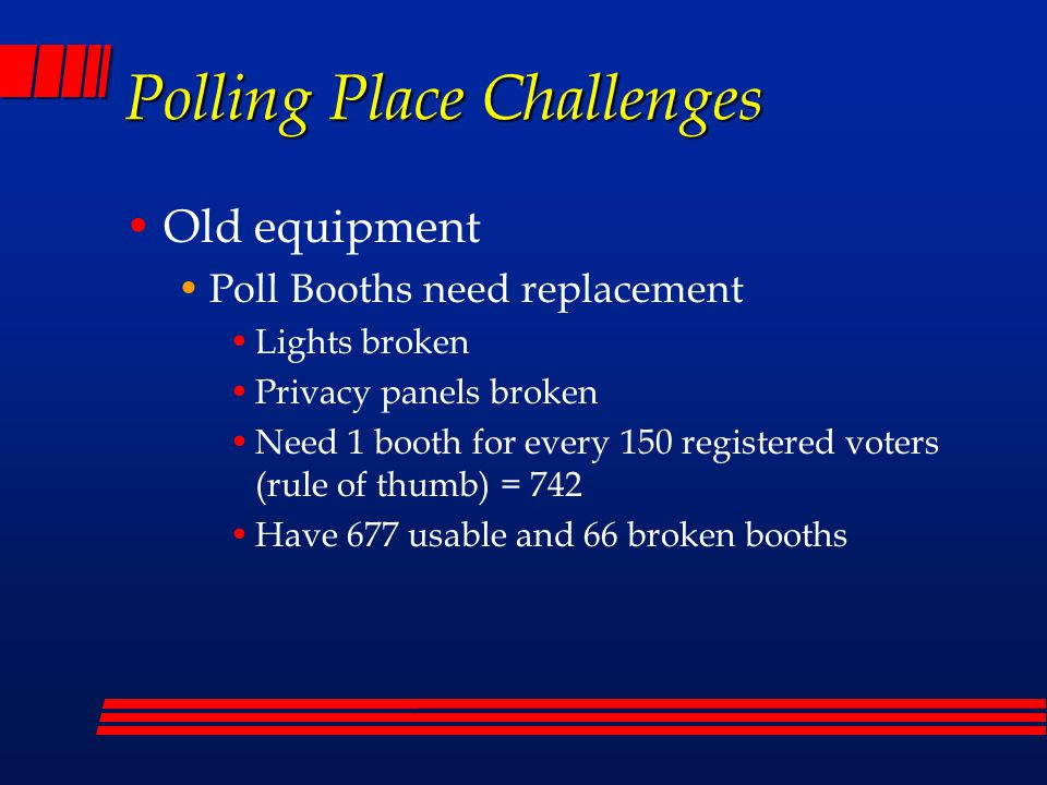Polling Place Challenges Secretary of State's replacement policy for voting equipment 38 original optical scan units – purchased 1998 Equipment Refresh Policy - Election equipment is a major capital expense for Arizona's counties.