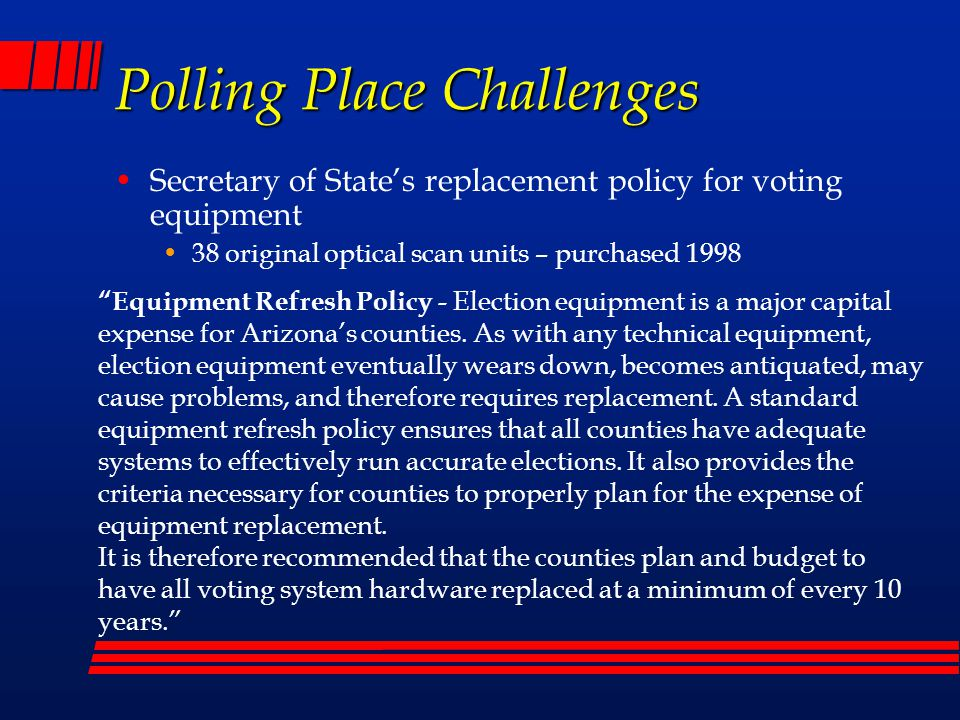 Polling Place Challenges Number of Provisional Forms to supply We can only make a best guess on how many provisionals will be needed Reasons for provisionals: No ID or Insufficient ID Moved Changed Name Early Voter Not on Roster (Not Registered to Vote, Incorrect Precinct, etc.)