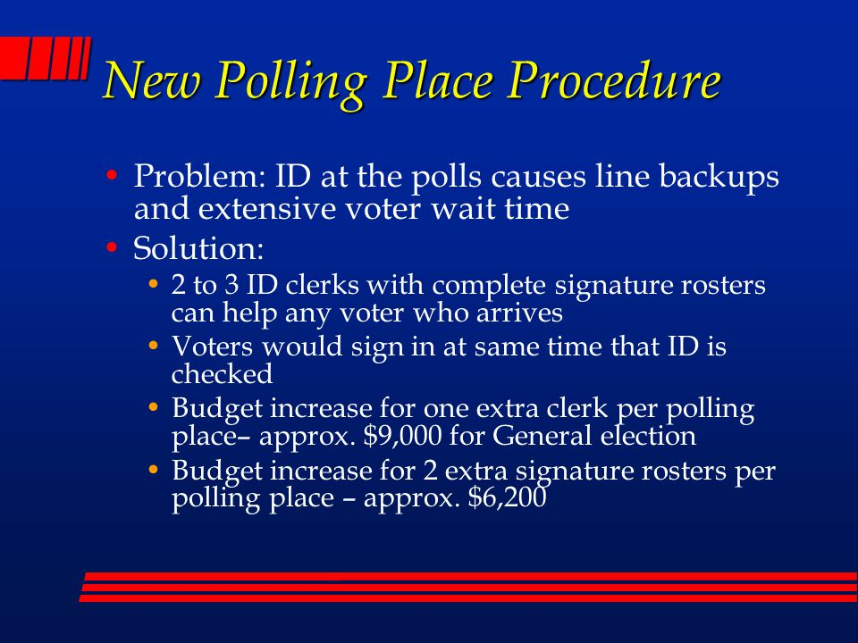 Early/Mail Voting Challenges No Signature/Signature Different on Ballot Affidavit Envelope Election# Voters - called# Voters – corrected May 200747948 Sep 2007579130 Nov 200713632 Feb 2008264 Mar 2008394 CHANGED ENVELOPE