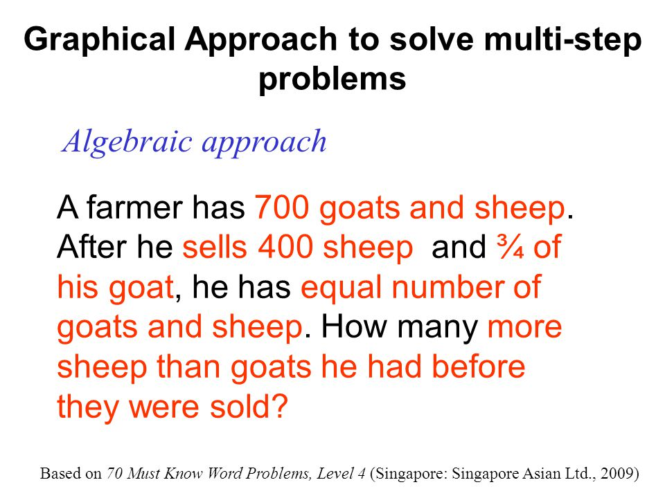 Graphical Approach to solve multi-step problems Algebraic approach G: Number of goats S: Number of sheep G + S = 700 Sells: ¾ of the goats, and 100 sheep