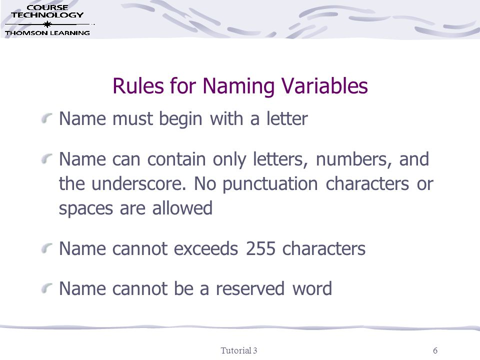 Tutorial 37 Creating (declaring) a Variable Dim variablename [As datatype] Public variablename [As datatype]