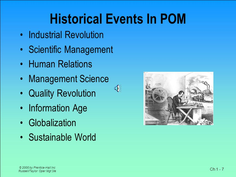 Ch 1 - 7 © 2000 by Prentice-Hall Inc Russell/Taylor Oper Mgt 3/e Historical Events In POM Industrial Revolution Scientific Management Human Relations Management Science Quality Revolution Information Age Globalization Sustainable World