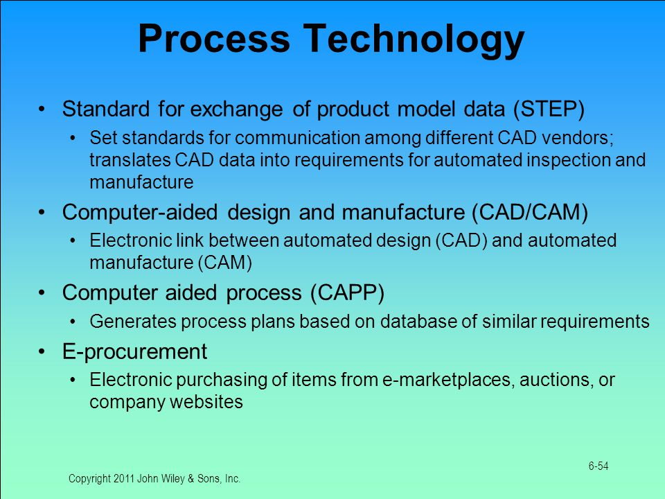 Process Technology Standard for exchange of product model data (STEP) Set standards for communication among different CAD vendors; translates CAD data into requirements for automated inspection and manufacture Computer-aided design and manufacture (CAD/CAM) Electronic link between automated design (CAD) and automated manufacture (CAM) Computer aided process (CAPP) Generates process plans based on database of similar requirements E-procurement Electronic purchasing of items from e-marketplaces, auctions, or company websites Copyright 2011 John Wiley & Sons, Inc.