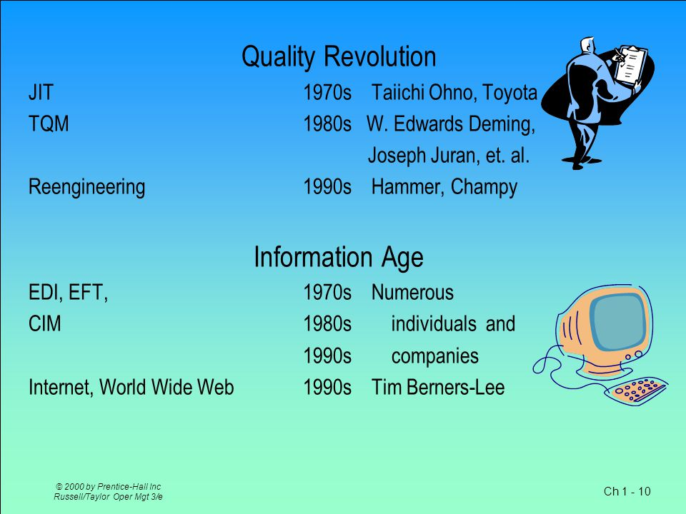 Ch 1 - 10 © 2000 by Prentice-Hall Inc Russell/Taylor Oper Mgt 3/e Quality Revolution JIT1970sTaiichi Ohno, Toyota TQM 1980s W.
