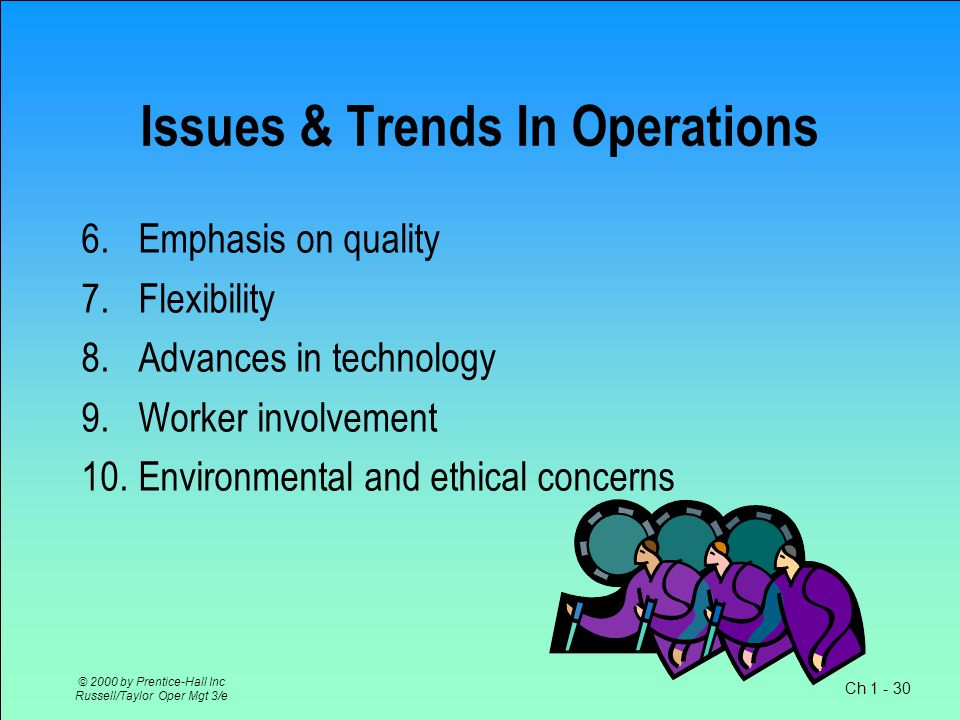 Ch 1 - 30 © 2000 by Prentice-Hall Inc Russell/Taylor Oper Mgt 3/e Issues & Trends In Operations 6.
