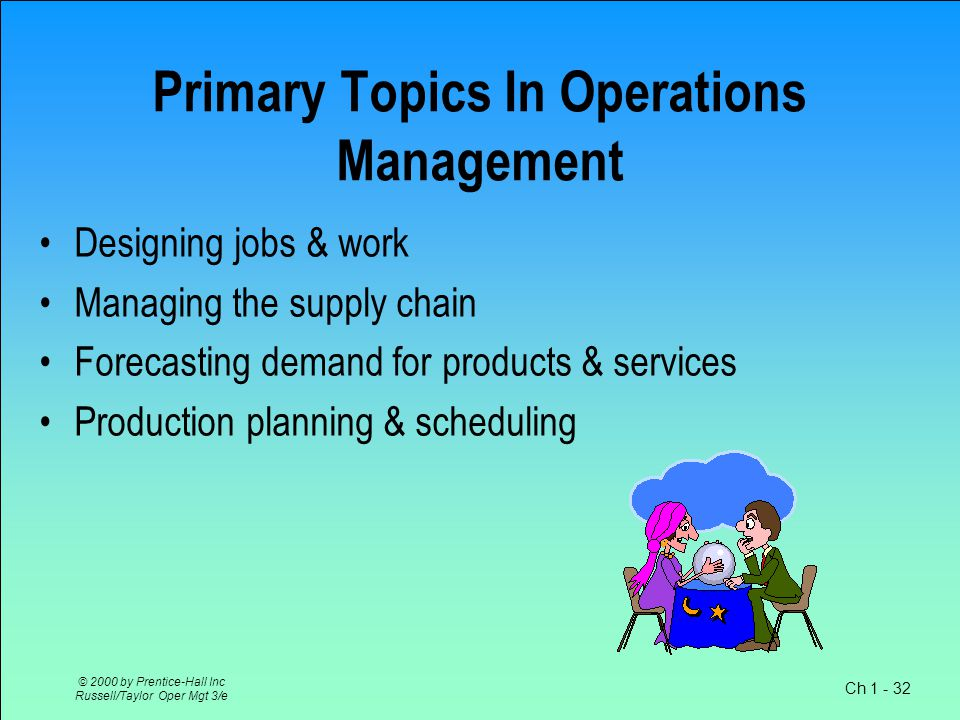 Ch 1 - 32 © 2000 by Prentice-Hall Inc Russell/Taylor Oper Mgt 3/e Primary Topics In Operations Management Designing jobs & work Managing the supply chain Forecasting demand for products & services Production planning & scheduling