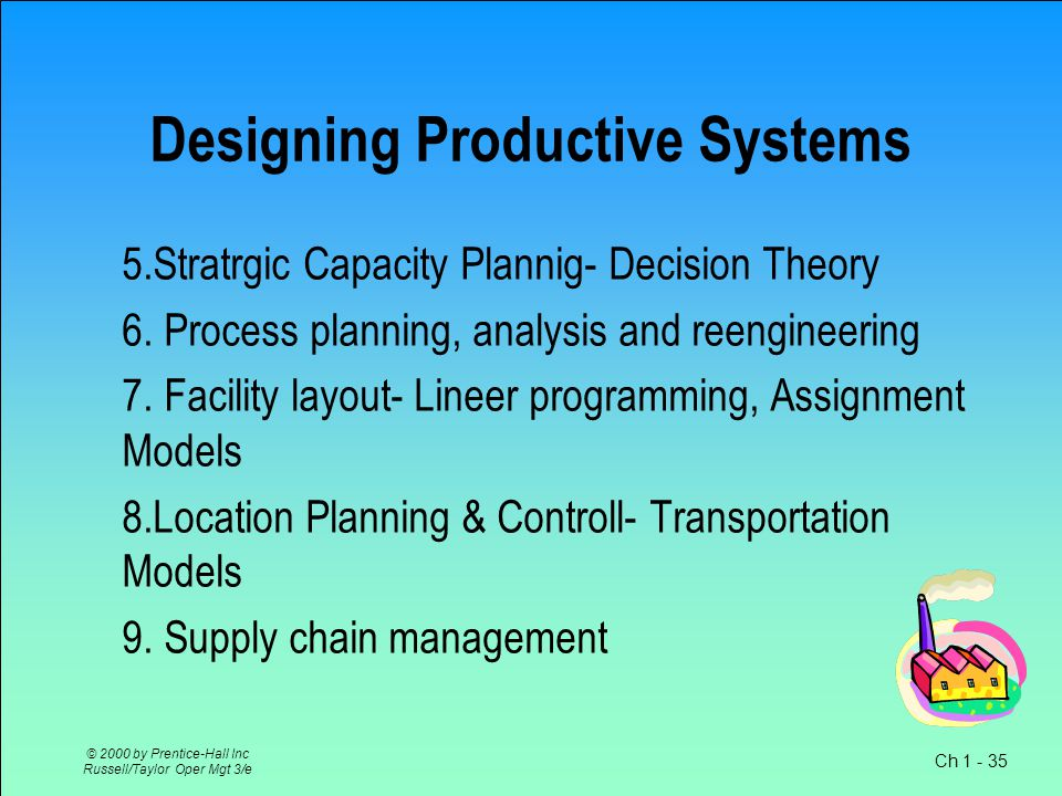 Ch 1 - 35 © 2000 by Prentice-Hall Inc Russell/Taylor Oper Mgt 3/e Designing Productive Systems 5.Stratrgic Capacity Plannig- Decision Theory 6.