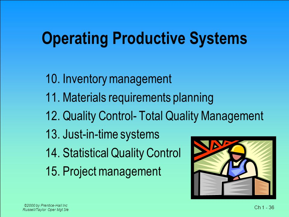 Ch 1 - 36 ©2000 by Prentice-Hall Inc Russell/Taylor Oper Mgt 3/e Operating Productive Systems 10.