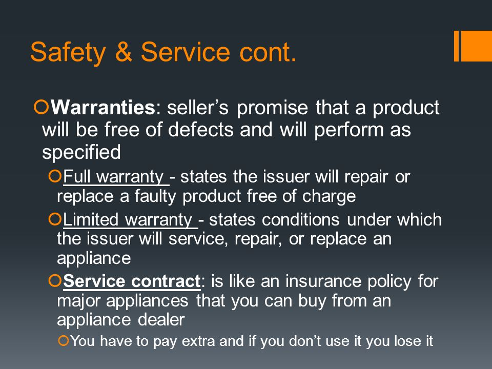 Safety & Service cont.
