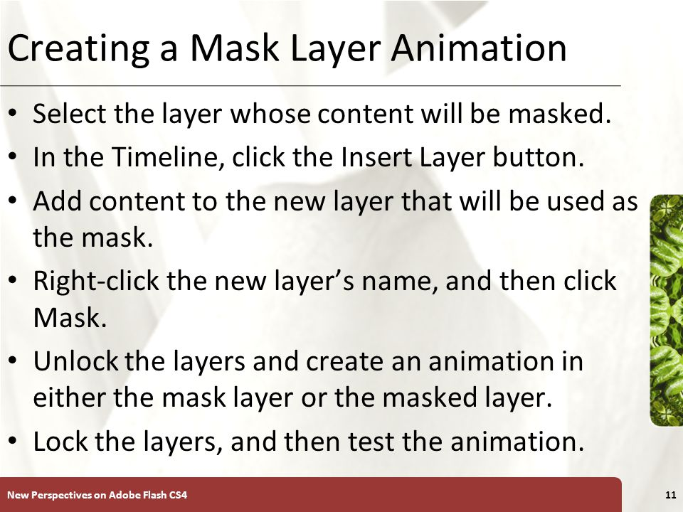 XP Creating a Mask Layer Animation New Perspectives on Adobe Flash CS412