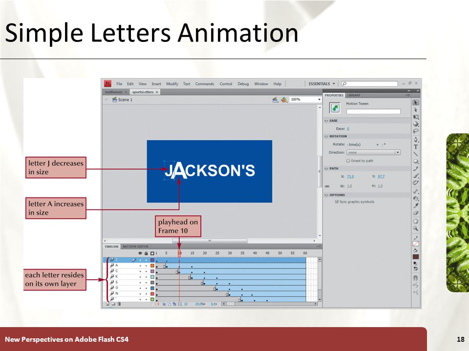 XP Animating Individual Letters On the Stage, select the text block containing the letters to be animated.