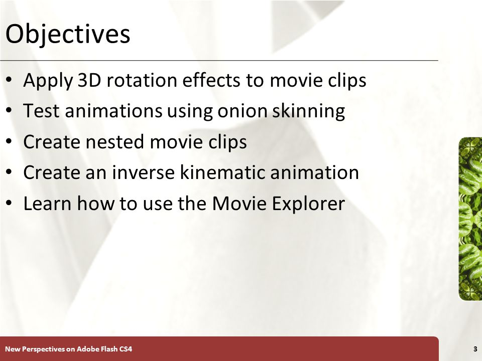 XP Modifying Motion Tweens When you create a motion tween in which an object moves from one part of the Stage to another, Flash creates a motion path – The motion path guides the object throughout the animation You can modify a motion path with the Selection tool by dragging any segments of the path using the Selection tool pointer the same way you modify a stroke New Perspectives on Adobe Flash CS44