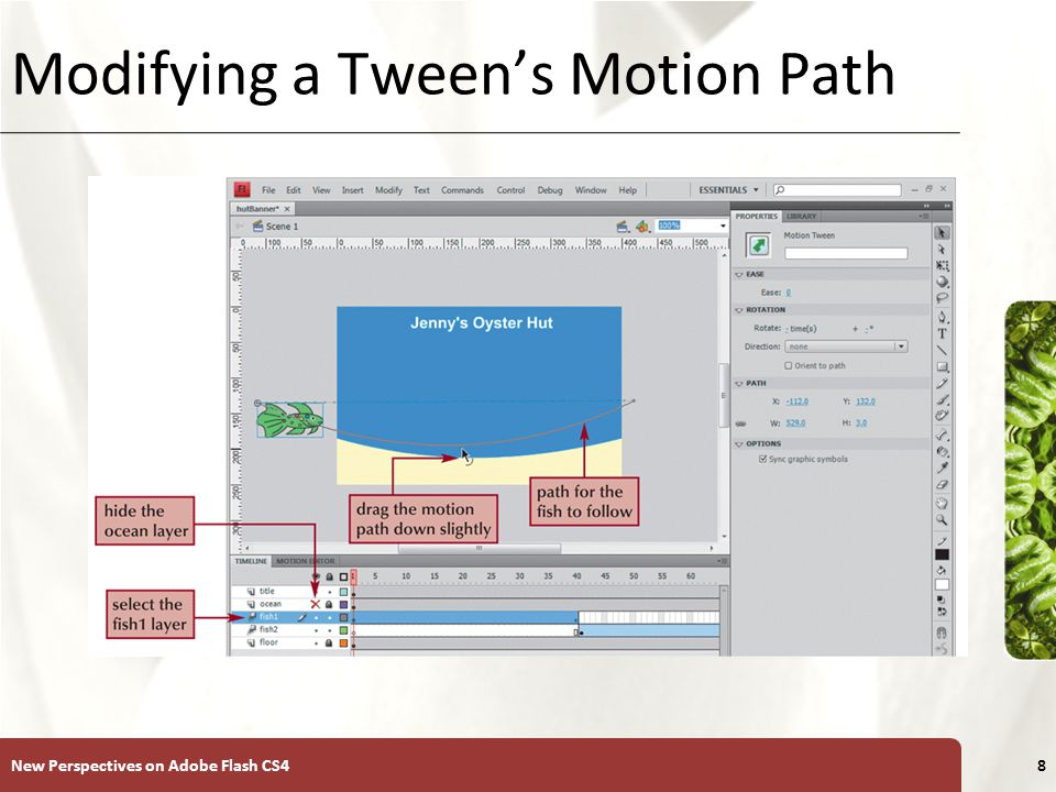 XP Using the Motion Editor The Motion Editor displays all properties and property keyframes for the selected motion tween – Enables you to control the target object's coordinates, rotation, and transformation properties at each property's keyframe – Select the layer and then click the MOTION EDITOR tab New Perspectives on Adobe Flash CS49