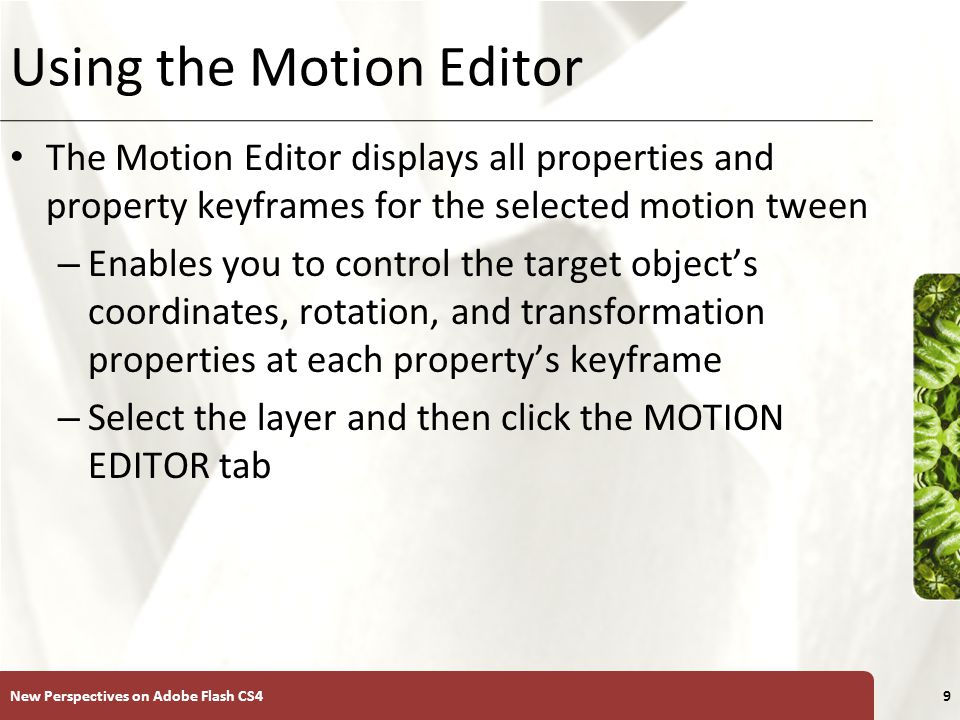 XP Using the Motion Editor New Perspectives on Adobe Flash CS410