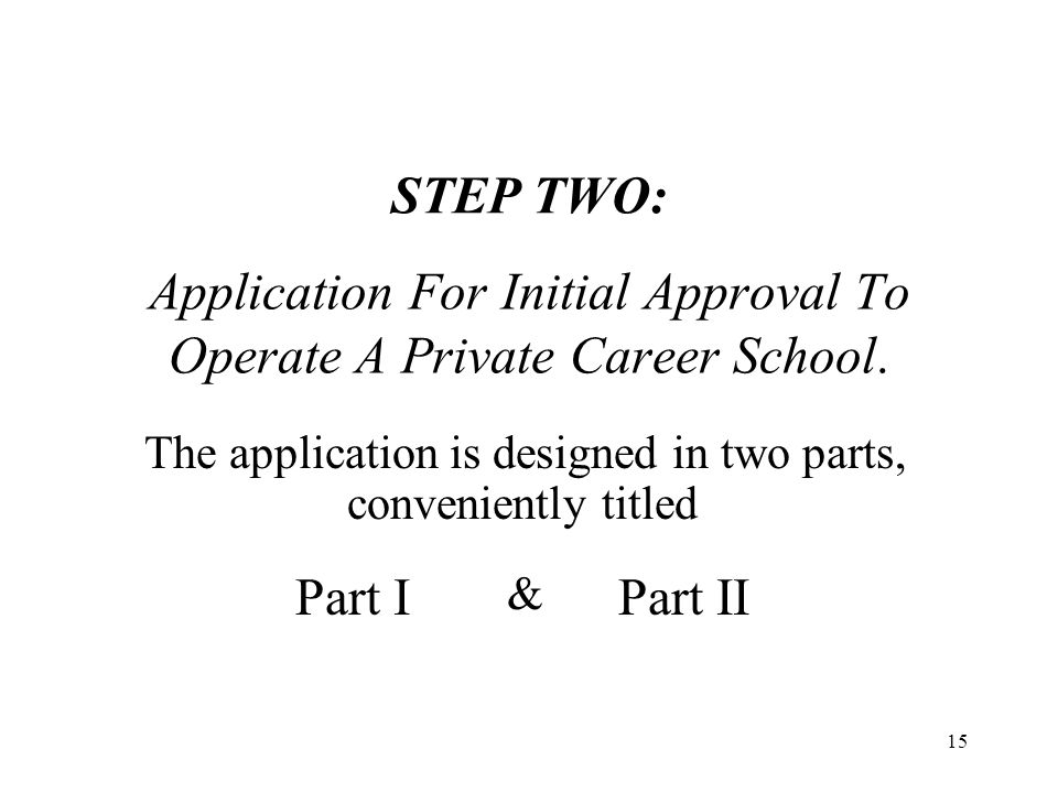 16 Part I Although it requires complete curriculum materials as well as proposed school documents and policies, it only asks the applicant school to provide its anticipated or projected physical, staff and equipment requirements.