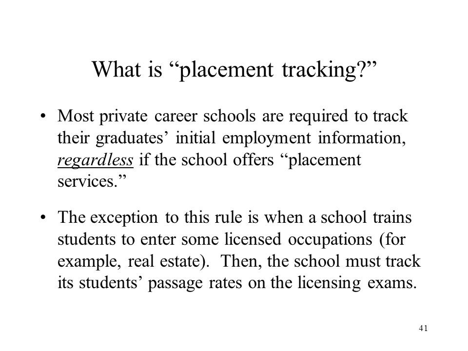42 Why track students who complete and students who become employed.