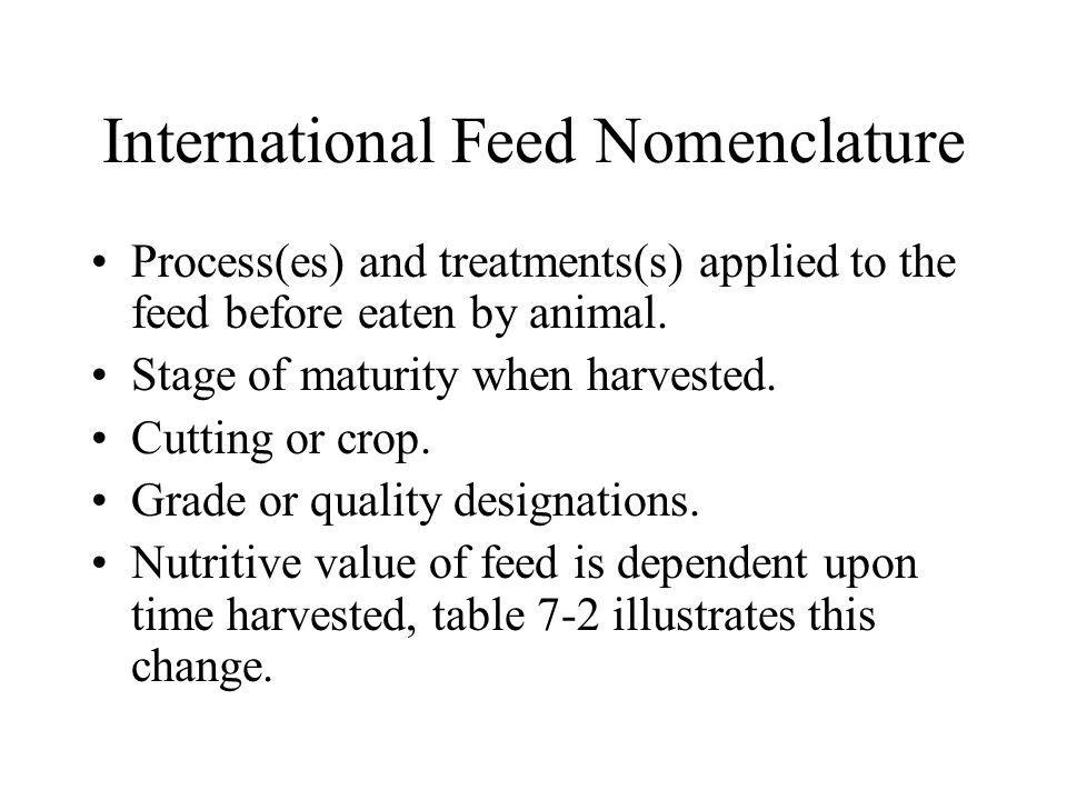International Feed Classes There are eight classes of feeds, based on composition and use.