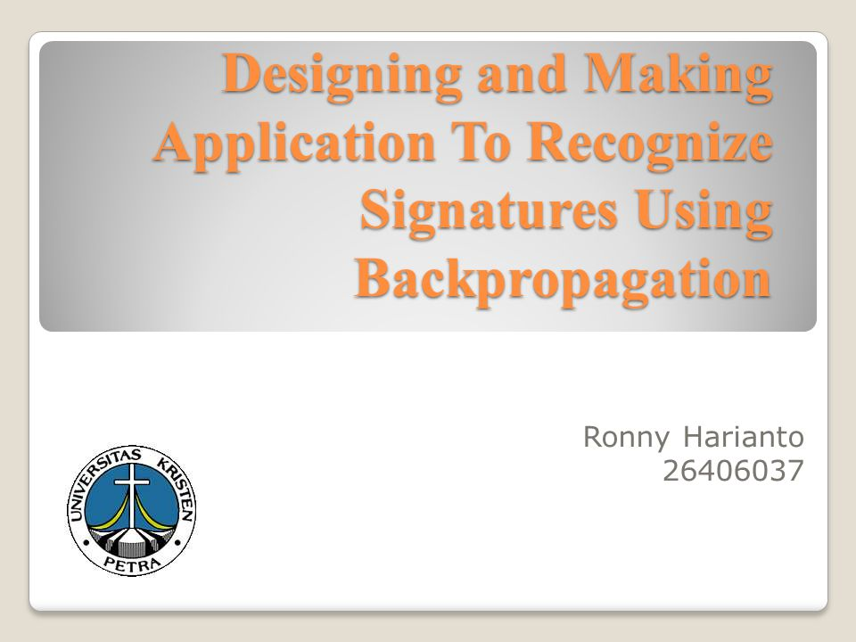 Background Signatures can be interpreted as one form of identification.