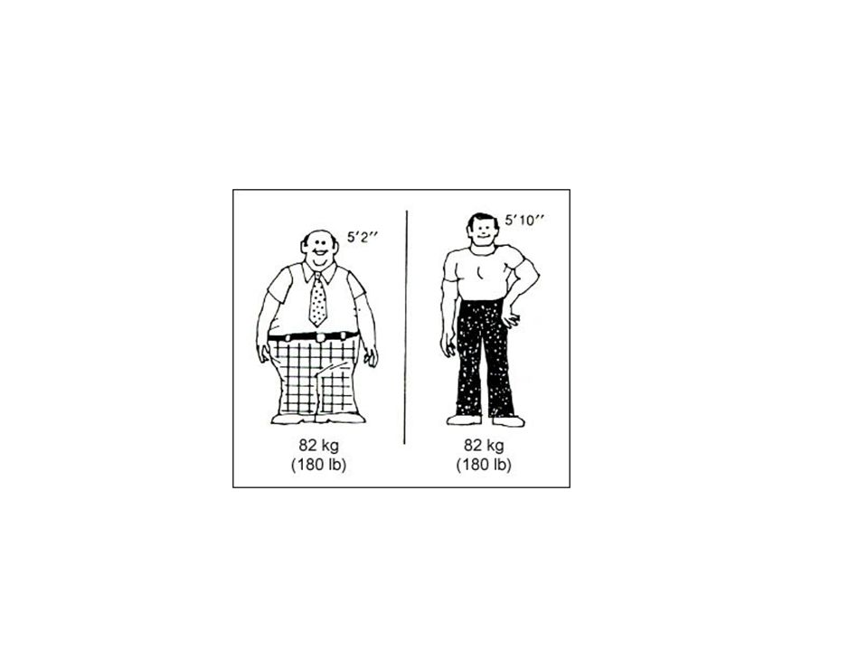 What is a healthy weight? BMI Weight (kg) / Height (m squared)