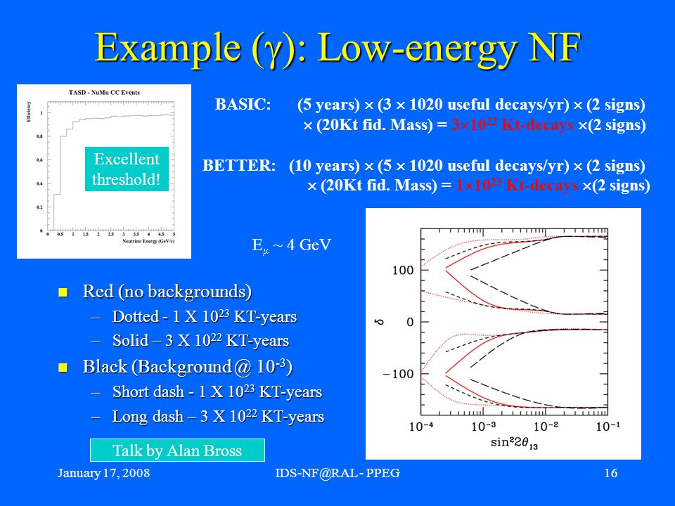 """January 17, 2008IDS-NF@RAL - PPEG17 Comparison to """"competitors : Superbeams Superbeam upgrades could compete with neutrino factory for large  13 Superbeam upgrades could compete with neutrino factory for large  13 For large  13, CP violation is the only relevant matter."""