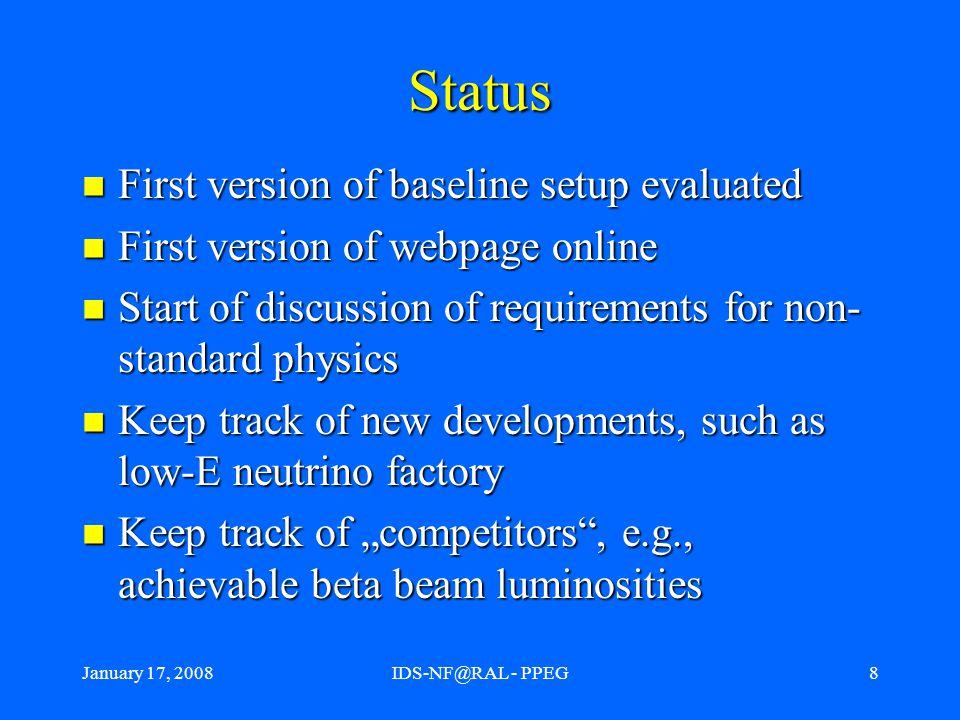 January 17, 2008IDS-NF@RAL - PPEG9 IDS baseline setup IDS baseline 0.10 evaluated.